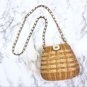 Handbags - Woven Straw Basket Crossbody Bag Anthro Inspired